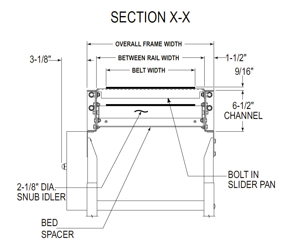 slider bed conveyor technical drawing