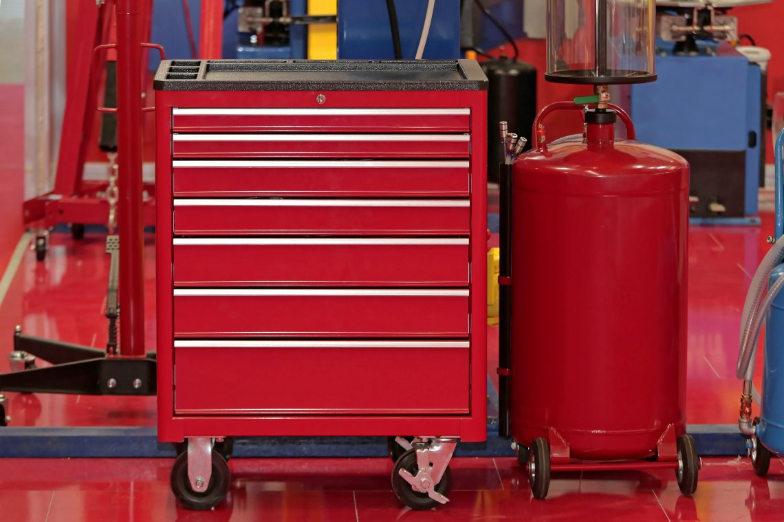 Red Tool Chest With Drawers in Garage Service